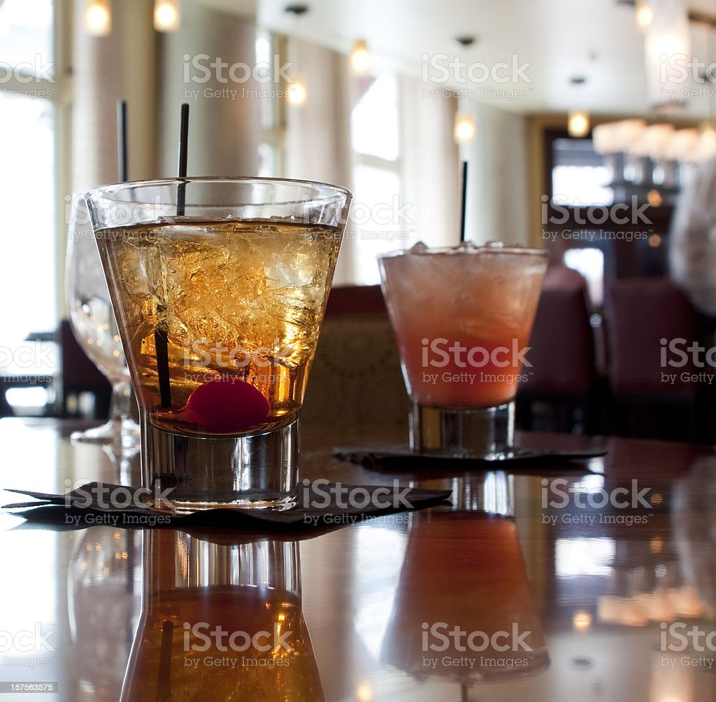 Drinks in a Hotel Bar stock photo