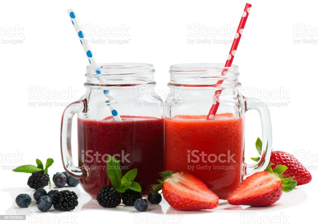 Drinks made with fresh berries stock photo