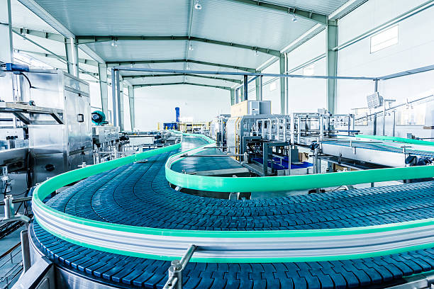 drinks production plant in china - conveyor belt stock pictures, royalty-free photos & images