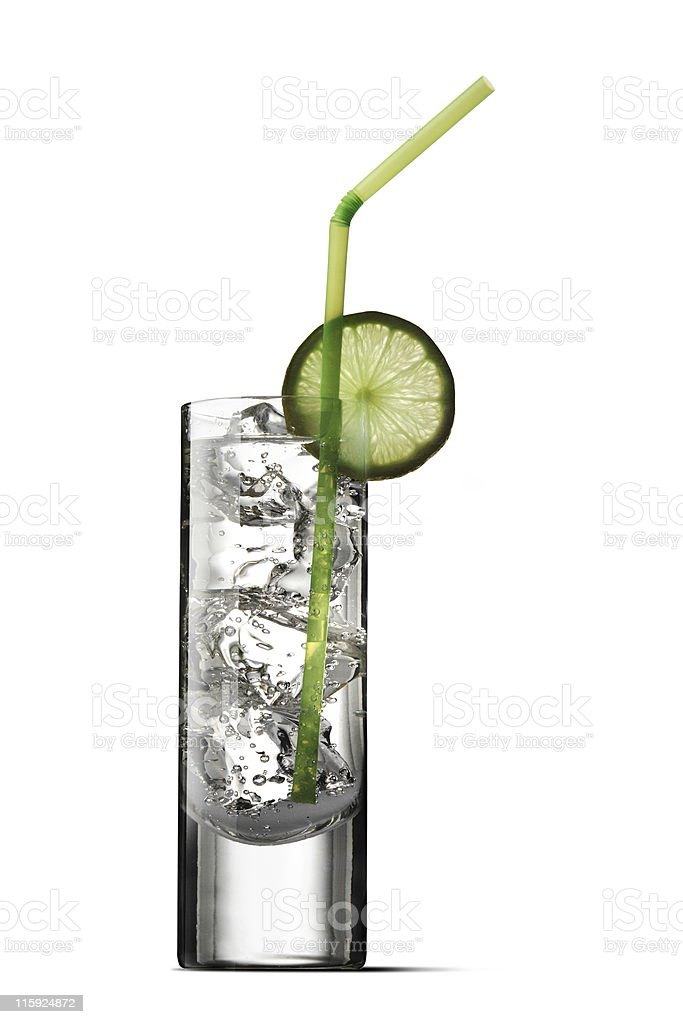 Drinks: Soda and Lime Isolated on White Background stock photo
