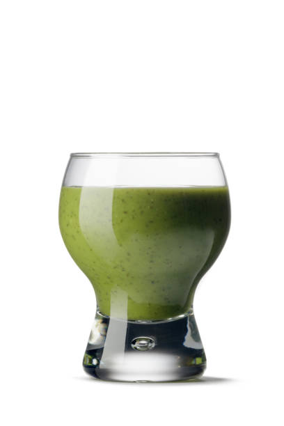 Drinks: Spinace, Avocado and Cucumber Juice Isolated on White Background stock photo