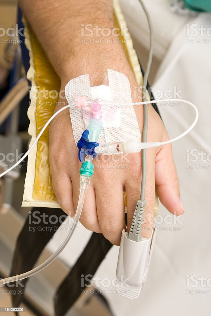IV Drip and Oximeter stock photo