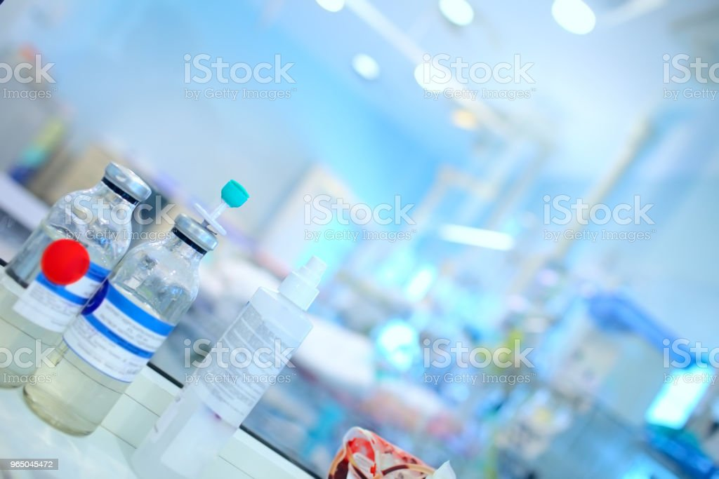 Drip bottles on the nurse's office in the ICU royalty-free stock photo