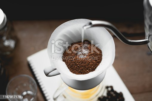 istock Drip Coffee Black coffee brewed in low light in the house 1167917178