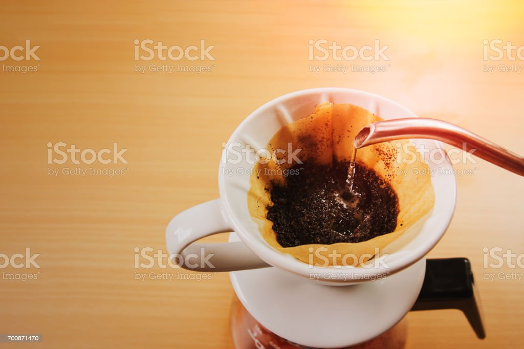 drip coffee sunrise. stock photo