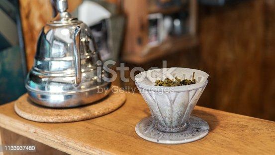 istock drip green tea brewing 1133937480