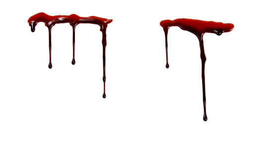 Dripping blood isolated on a white background