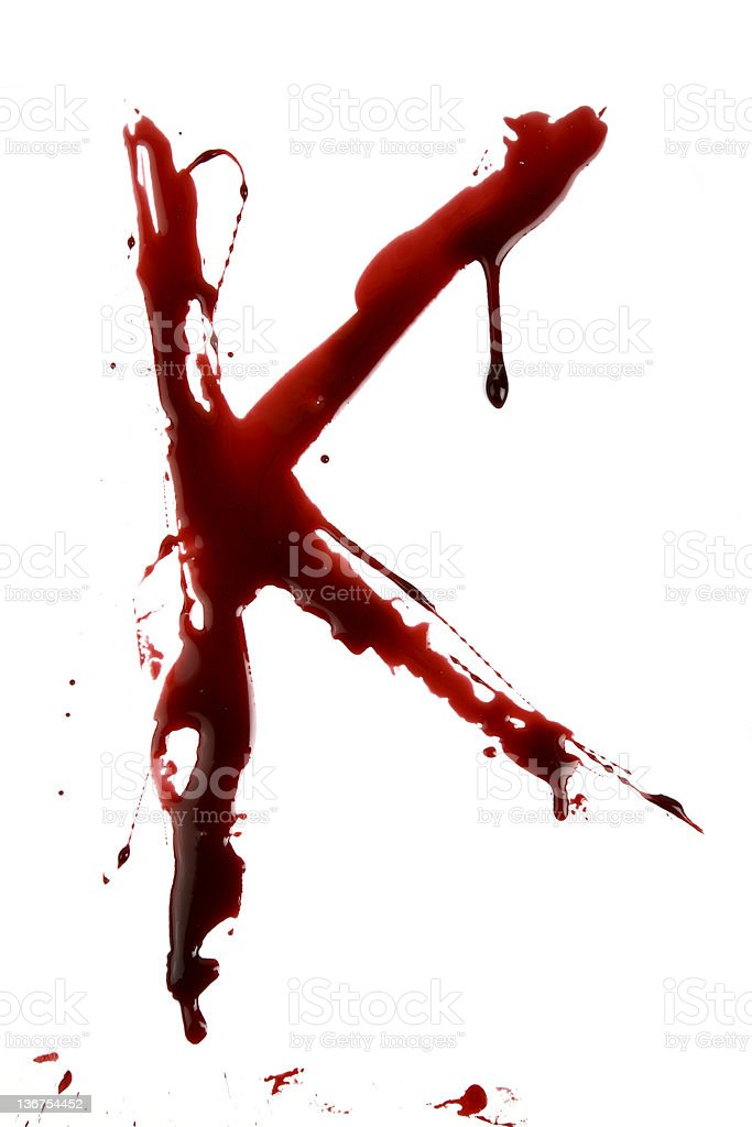 Dripping Bloody Alphabet K stock photo