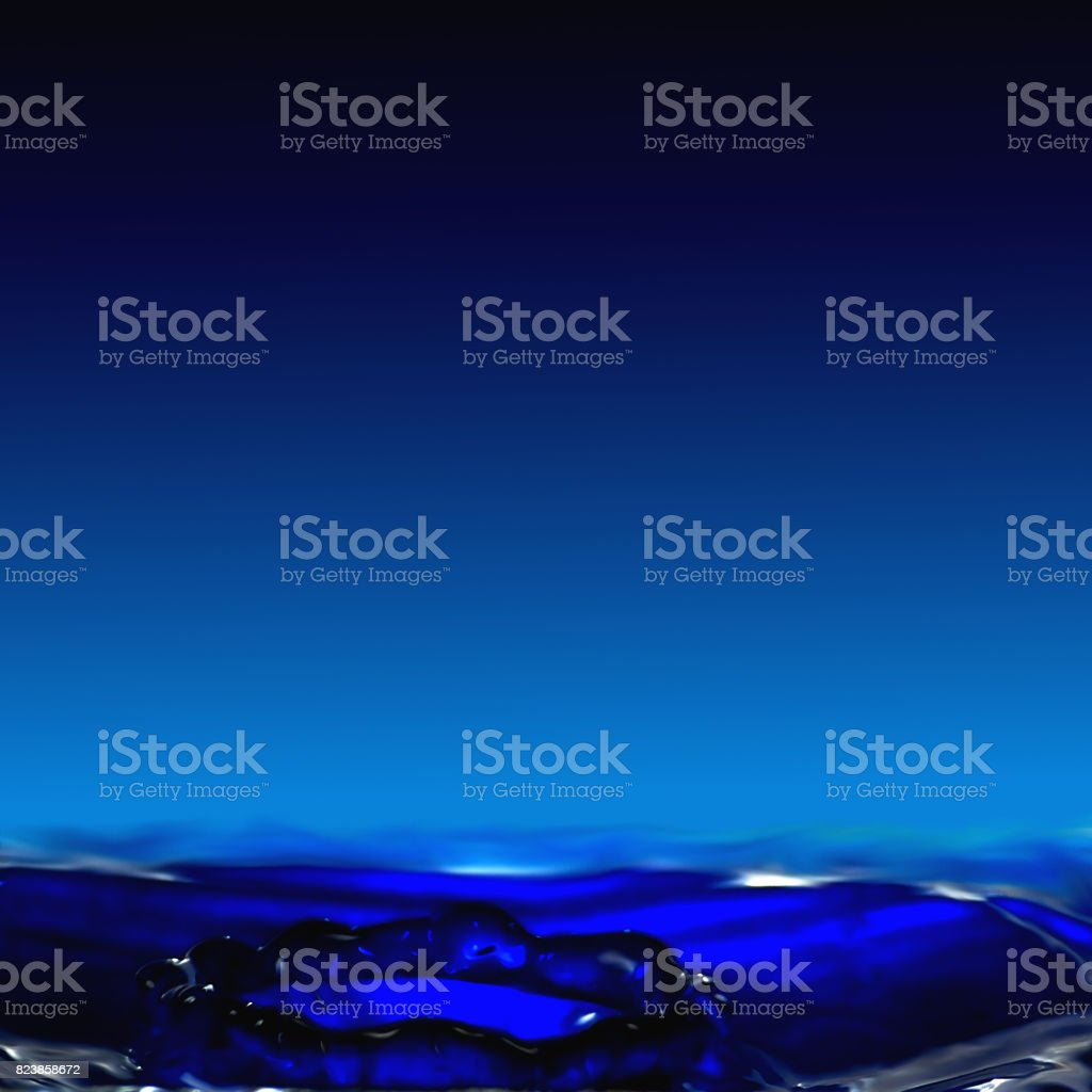 Dripping fluidity, a clear water crater with backlight. stock photo