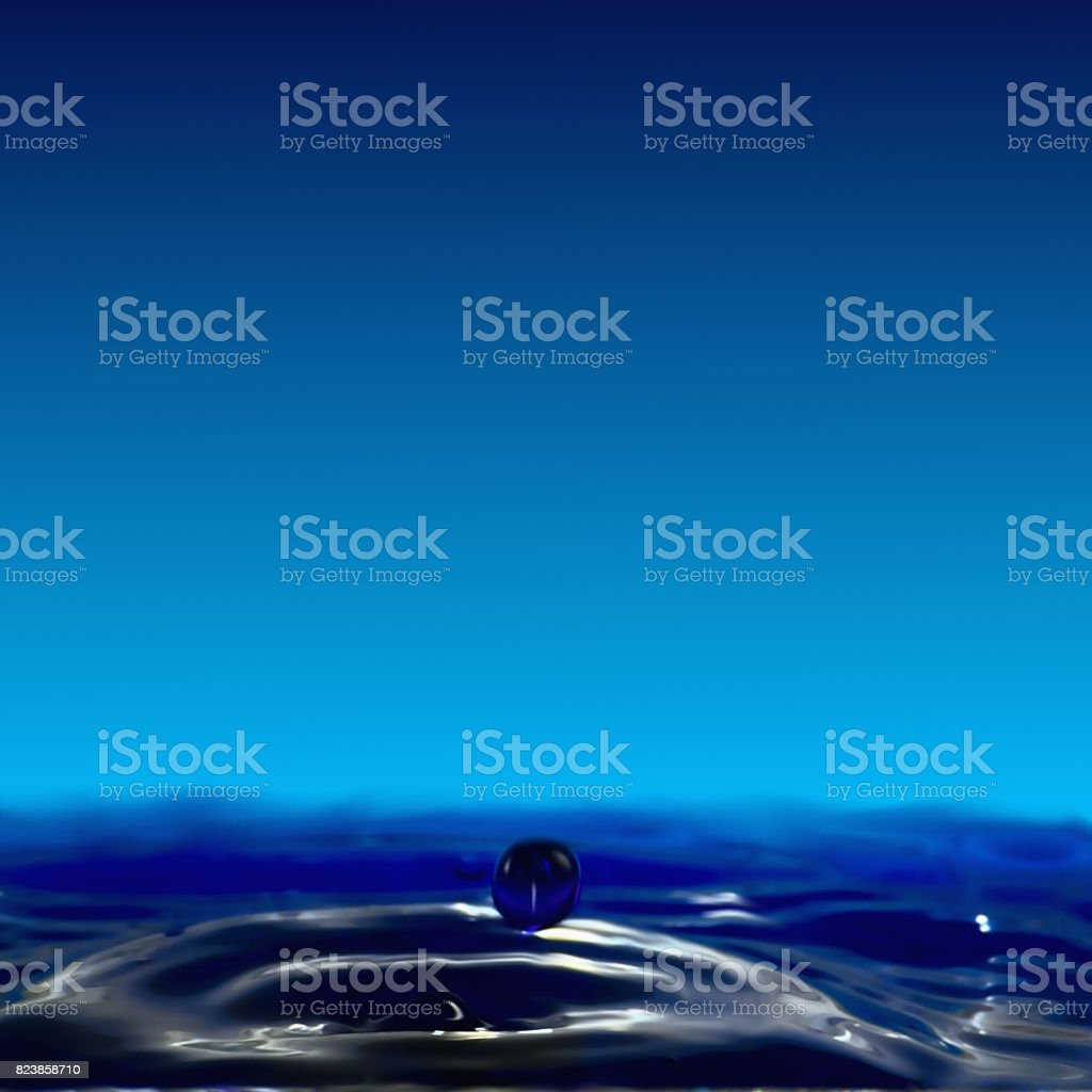 Dripping fluidity, a small crater and a ball of water. stock photo