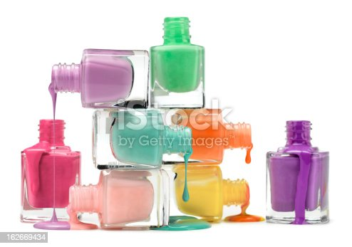 Dripping nail polish in several colors