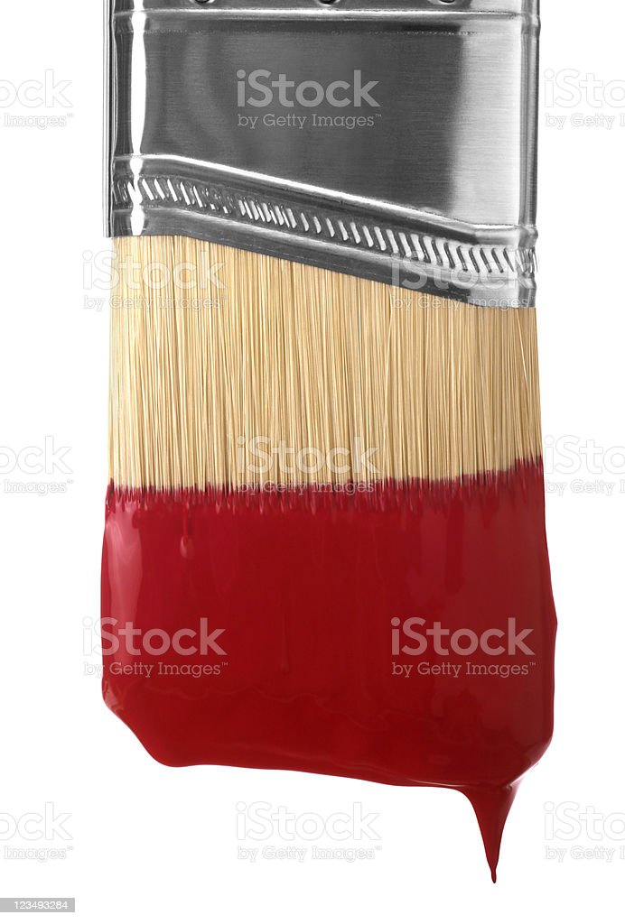 dripping red paint brush royalty-free stock photo