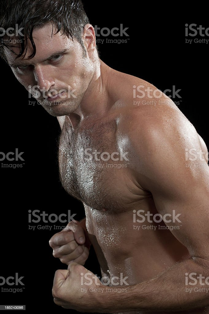 Dripping Wet Male Athletic stock photo