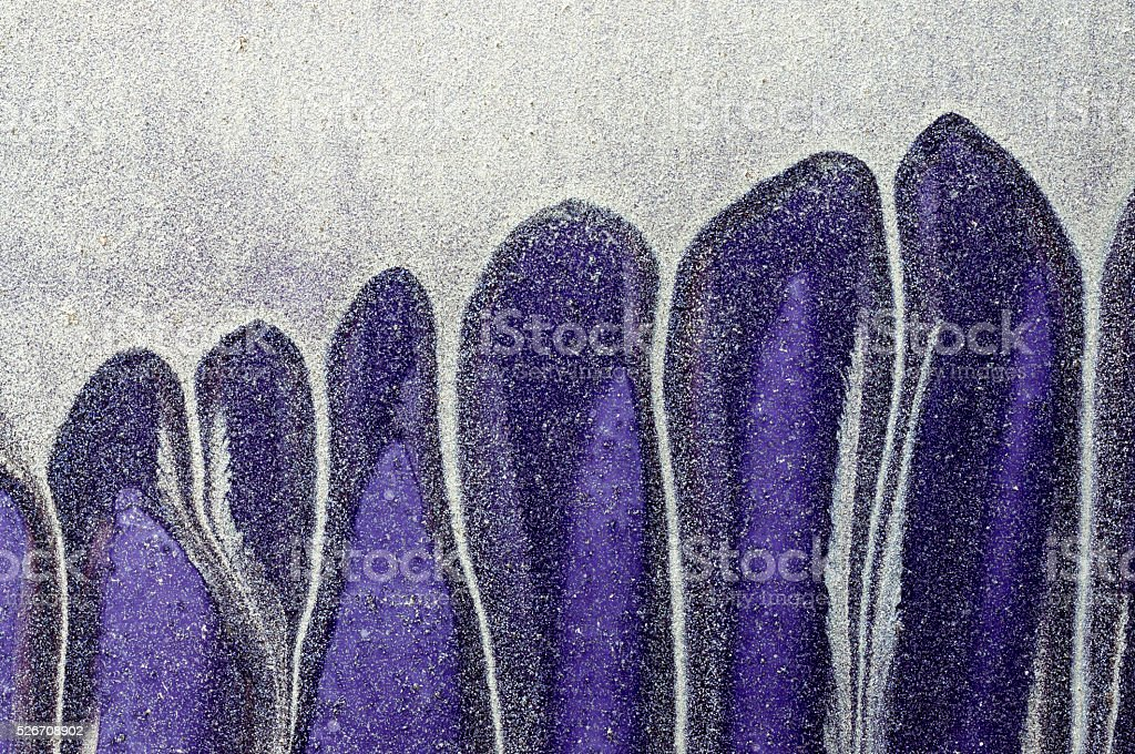 Dripping white, blue paint on purple  metal surface 1 stock photo