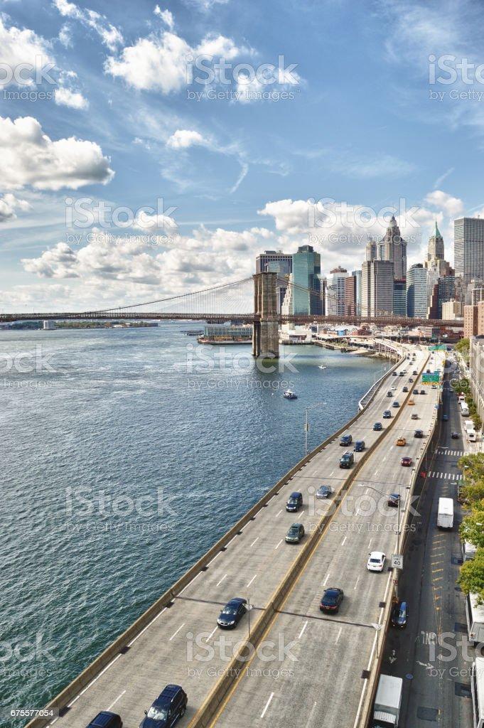 FDR Drive and Brooklyn Bridge. stock photo