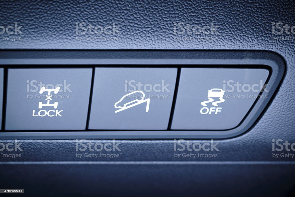 4WD drive and other safety systems switching buttons. stock photo