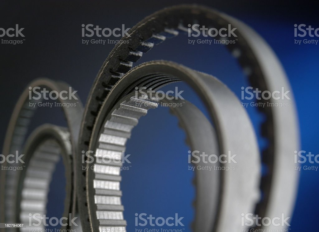 Drive belts of a motor, close-up royalty-free stock photo