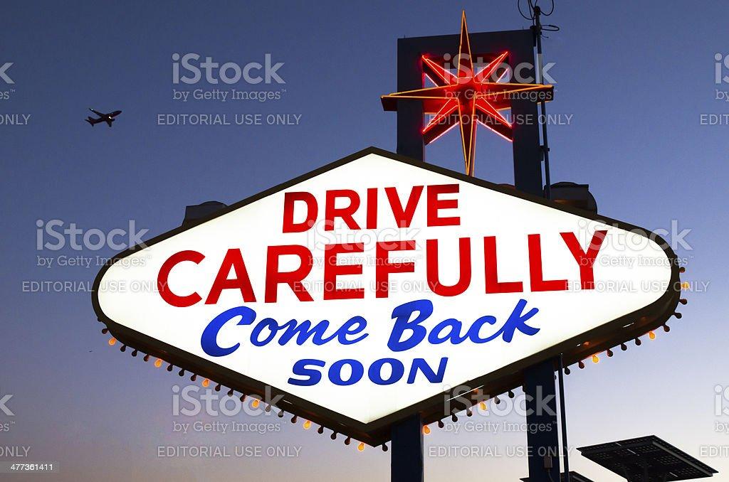 Drive Carefully sign stock photo
