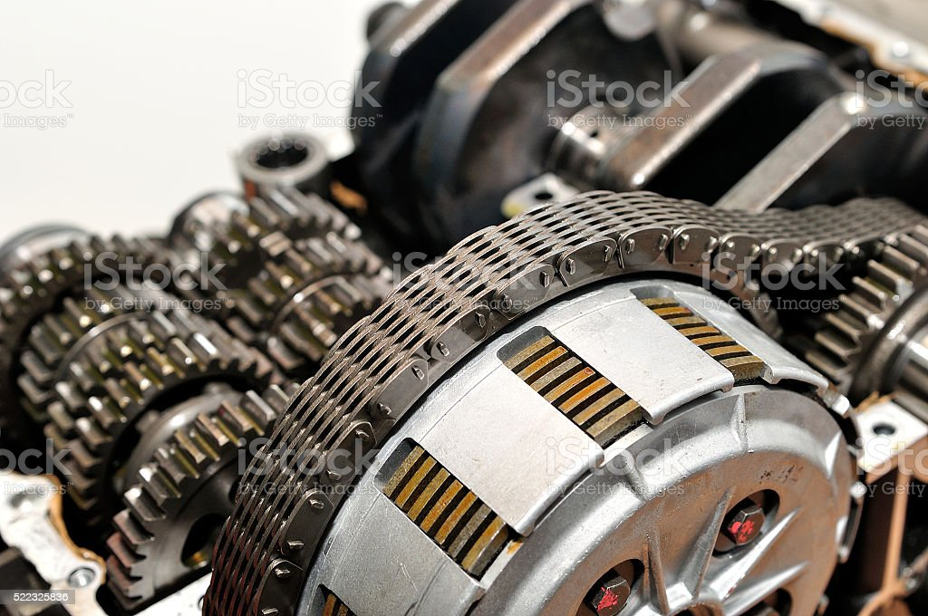 Drive chain over motorcycle clutch. stock photo