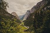Summer mountain beautiful waterfall in Norway fjords  Europe