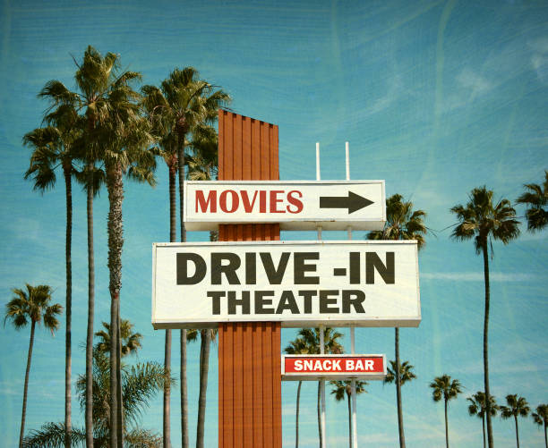 drive in movie theater stock photo