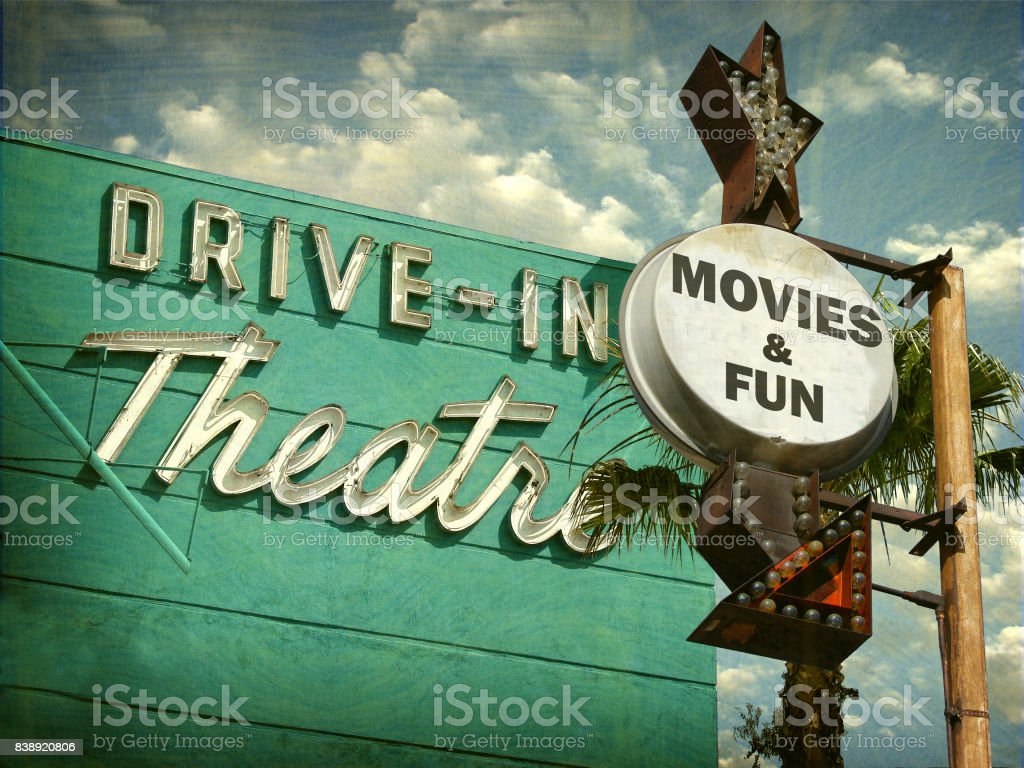 drive in movies sign stock photo