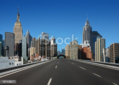 Going on Empty Highway in New York,  Fictive Buildings Panorama, Photomontage.
