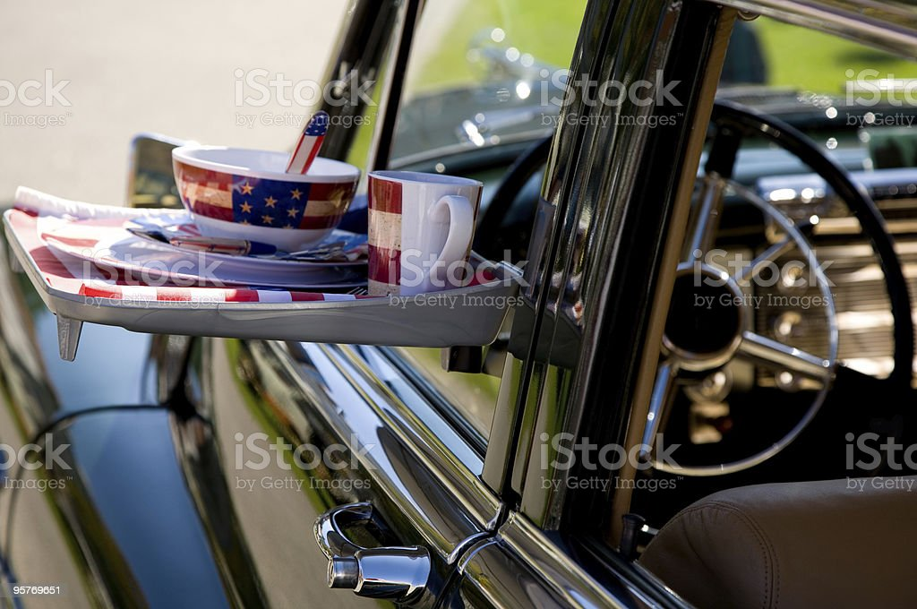 Drive in Restaurant and Classic Car royalty-free stock photo