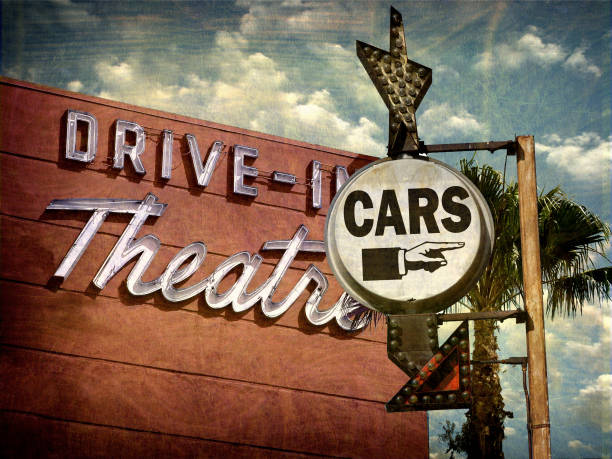 drive in theater sign stock photo