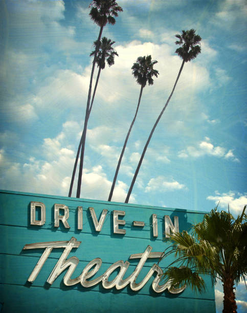 drive in theater sign aged and worn drive in theater sign theater marquee commercial sign stock pictures, royalty-free photos & images