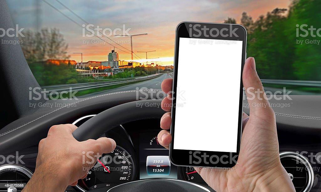 drive phone mockup isolated stock photo