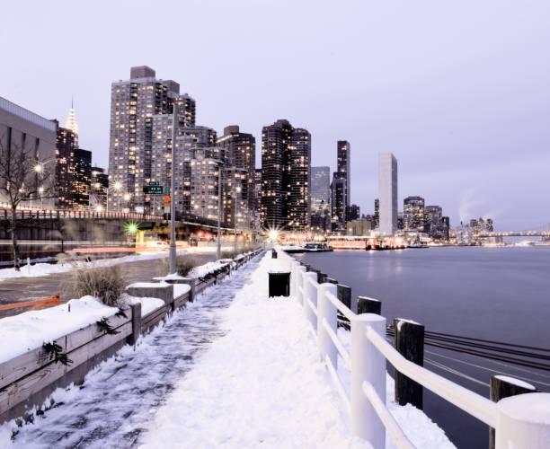 FDR Drive Snowstorm, New York City Blizzard stock photo