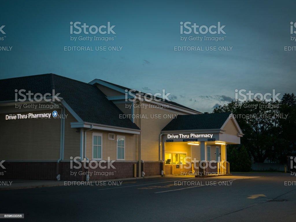 Drive Thru Pharmacy at dawn stock photo