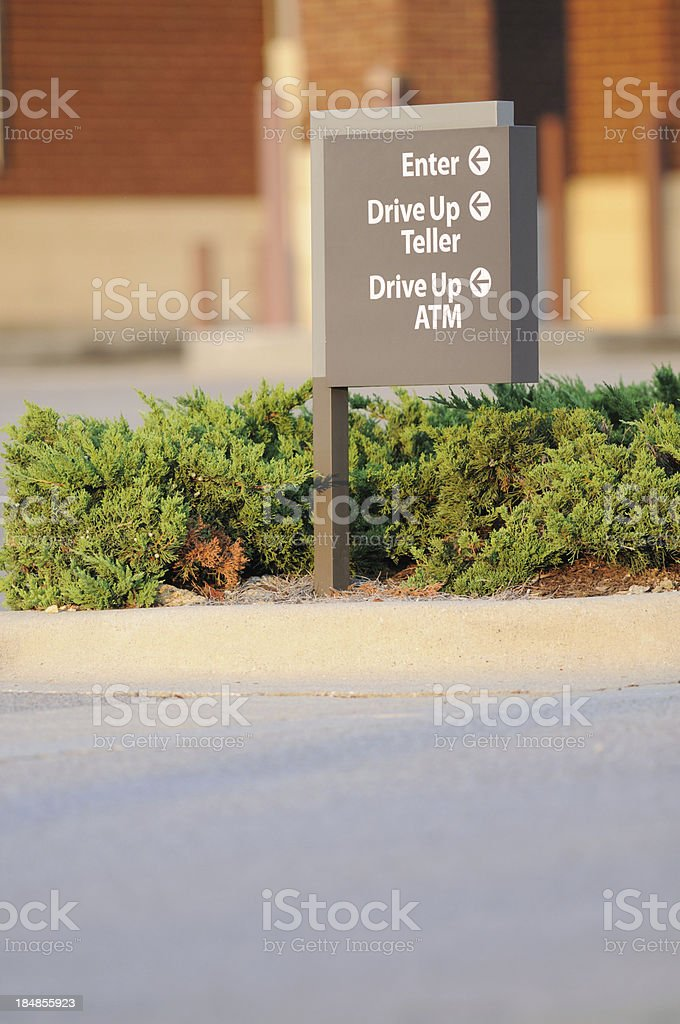 Drive up atm and teller sign royalty-free stock photo