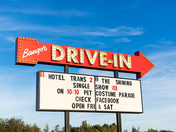 Drive-In Move Billboard Sign in Bangor Maine stock photo