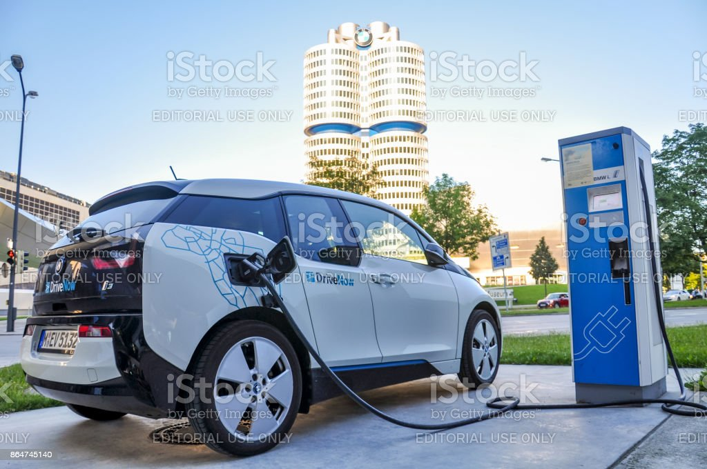 A Drivenow Bmw I3 Electric Car Standing At A Charging Station At Bmw