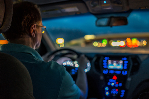 Driver concentrating at night