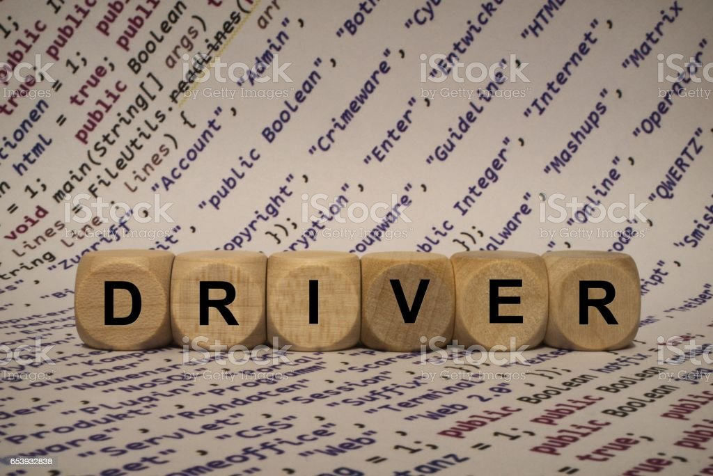 Driver Cube With Letters And Words From The Computer