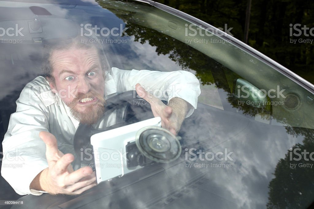 Driver furious on GPS navigation a wrong way stock photo