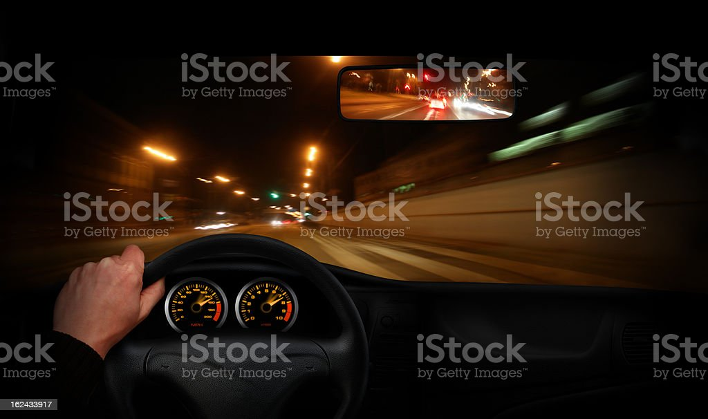 Driver going very fast through the town royalty-free stock photo