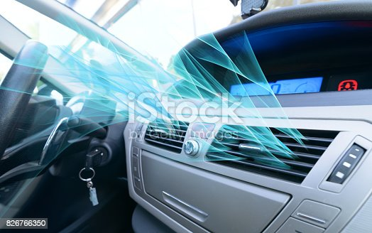 istock Driver hand tuning air ventilation grille 826766350