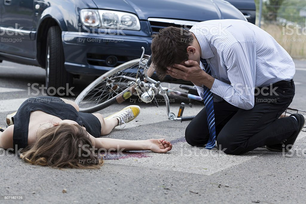 Accident Man Motorcycle Women Car
