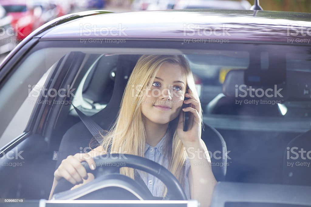 driver on the phone stock photo