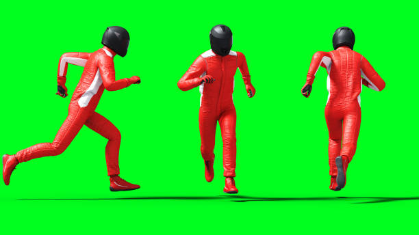Driver, racer isolate on green screen. 3d rendering. stock photo