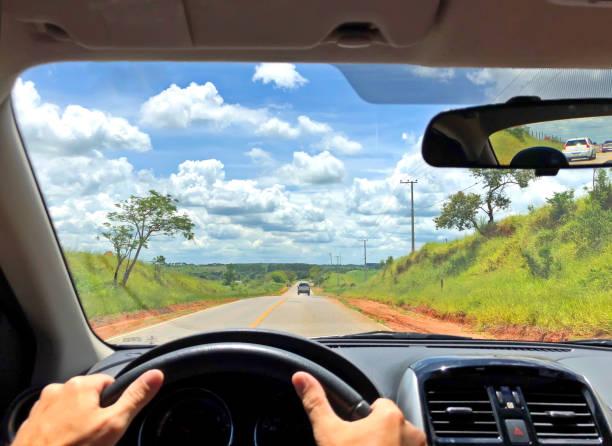 POV of driver single road Brazil stock photo