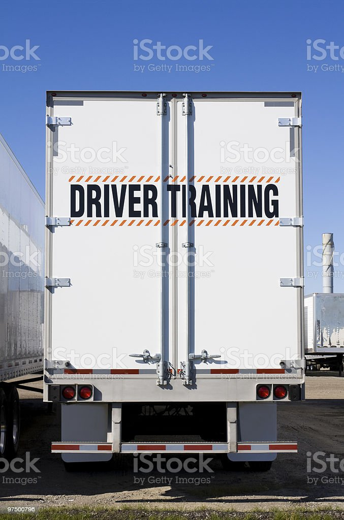 Driver training written on back of truck stock photo