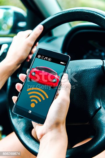 istock Driver uses mobile app to make wireless connection to car 856269874