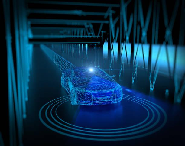 Driverless, autonomous, autopilot vehicle stock photo