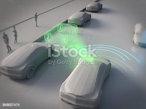istock Driverless autopilot, autonomous vehicle 849007474
