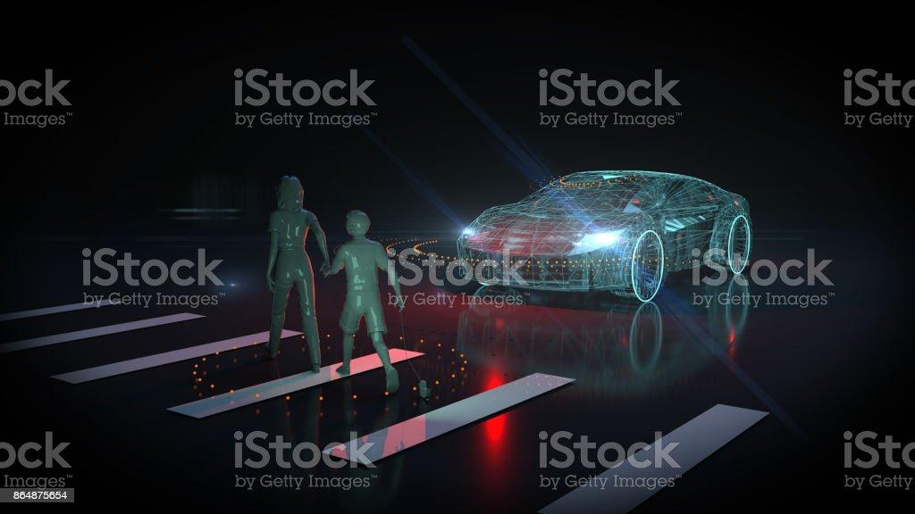 Driverless autopilot, autonomous vehicle stock photo